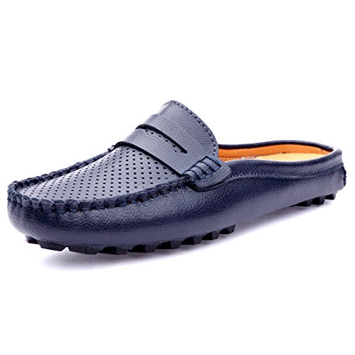 Blue Flats Loafer On Women's Slipper Leather Slip Summer Hollow Casual Out Backless SUNROLAN Mule Breathable Shoes 1ZaFvq1R