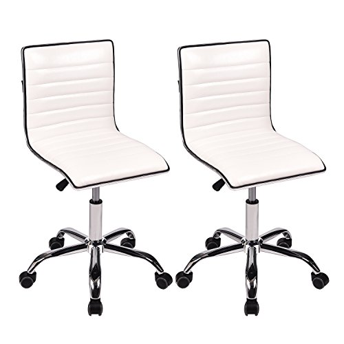 Office Task Chairs Mid-Back Armless Ribbed PU Leather Swivel Conference Chair White, Set of 2