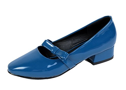 Odomolor Women's Patent Leather Closed-Toe Low-Heels Pull-On Solid Pumps-Shoes Blue 9dw5gG