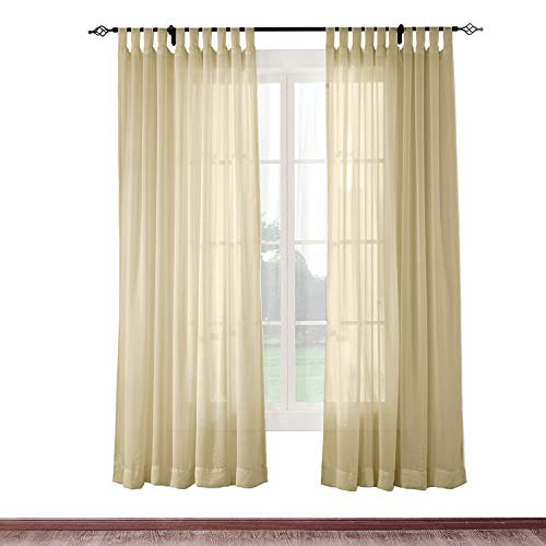 cololeaf Indoor Outdoor Sheer Curtain Patio| Porch| Gazebo| Pergola | Cabana | Dock| Beach Home| Backyard| Country| Garden| Wedding - Tab Top - Taupe 52