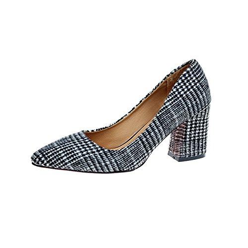 y tacón la bota solo Xue con zapatos el de con gruesos zapatos punta blanco de la con Qiqi los zapatos audaces retro luz negro 36 A alto de formato de la color p8ozwR84fq