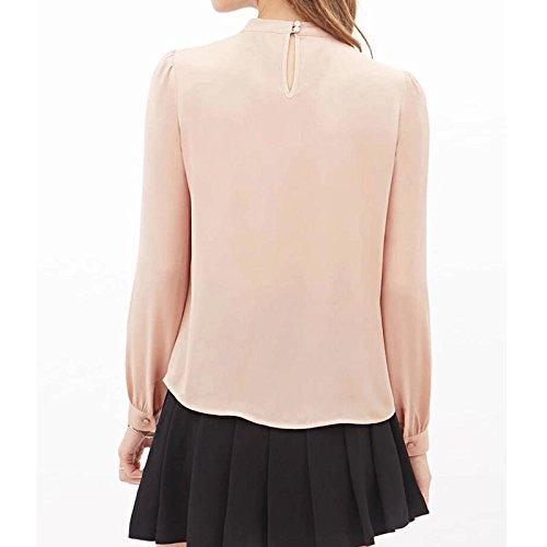 MVPKK Noir de Soie Kaki Longue T Femme Femme Chic Chemise Chemise Top en Shirt S Mousseline Casuel rgZAqrw