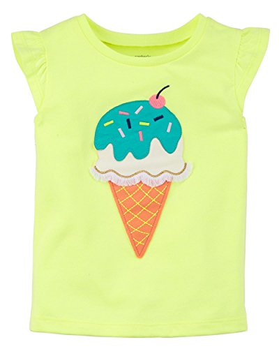 - Carter's Girls' 2T-8 Flutter Sleeve Tees (Miss Independent, 7) (Neon Yellow/Ice Cream, 8)