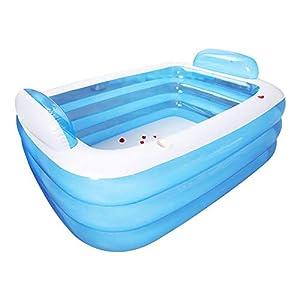 Piscina hinchable hinchable, piscina familiar gruesa, piscina hinchable, 3 anillas, piscina hinchable para niños familiares, bebés al aire libre, mucha diversión 150 x 105 x 55 cm.