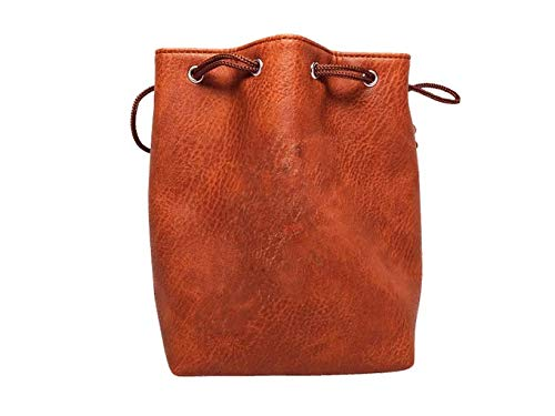 Brown Leather Lite Large Dice Bag - Brown Faux Leather Exterior Lined Interior - Stands up on its Own Holds 400 16mm Polyhedral Dice   B07GD8TZFB