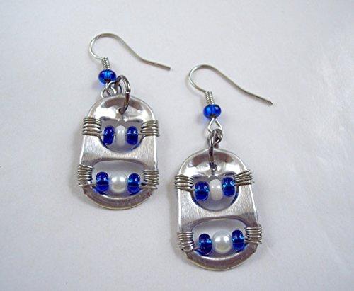 Pop Tab Earrings Blue and White