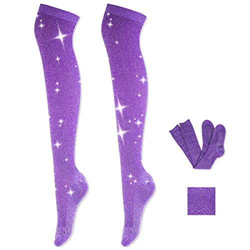Women Fashion Knee High Socks - Novelty Opaque Knee High Boot Stockings for Fashion Women (Purple)
