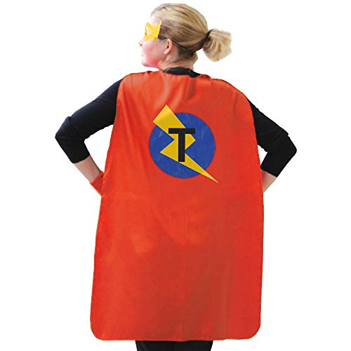 Cape Costume Women, Red Superhero Cape Adult, Men Superhero Clothes, Party Gifts for Adults, Birthday Cape + Mask with Custom Name- Cape T -
