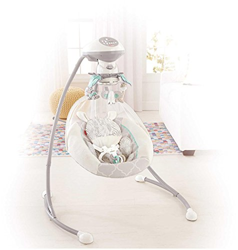 Fisher Price Safari Dreams Cradle 'n Swing, White/Blue