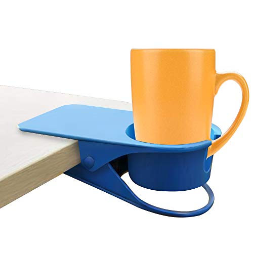 - SENLIXIN Cup Holder Clip Desk Cup Holder Clamp with Hole for Mug Handle - fits Glasses, Tumblers, Cans, Mugs-Clips on Table Side to Save Space for Table Home Office (Blue)