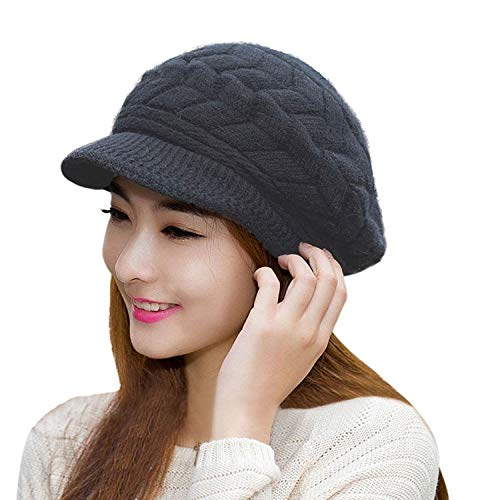 HINDAWI Winter Hats for Women Outdoor Warm Knit Snow Ski Crochet Skull Cap with Visor Black