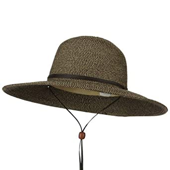 e2fda281e Jeanne Simmons Flat 4 Inches Brim Straw Hat - Black Tweed at Amazon ...