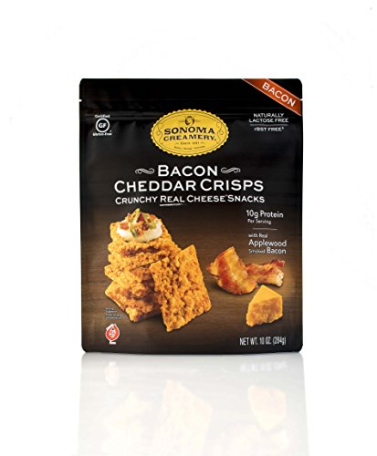 Sonoma Creamery Cheese Crisps - Bacon Cheddar Savory Cheese Cracker Snack High Protein Low Carb Gluten Free Wheat Free (10 Ounce)