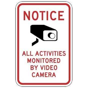 Activities Monitored By Video Camera Signs - 18x24