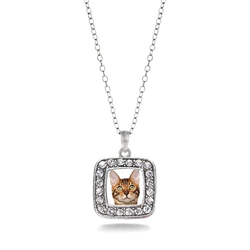 Inspired Silver Bengal Cat Classic Square Charm Necklace With Cystal Rhinestones
