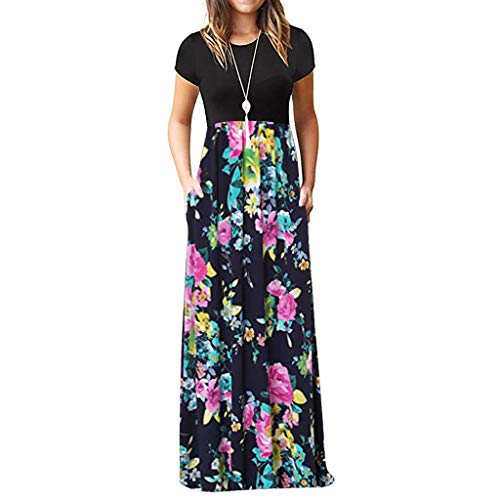 - Ulanda Elegant Women's Maxi Dress Floral Printed Autumn Long Sleeves Casual Tunic Long Maxi Dress ... (XXX-Large, Pink Floral)