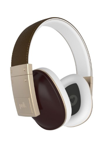 Polk Audio Buckle Headphones - Brown/Gold - with 3 button control and microphone