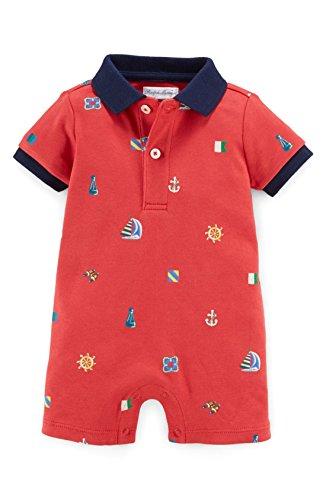 Ralph Lauren Baby Boys' Nautical Cotton Polo Shortall Sail Ships- 3 Months -Red Multi