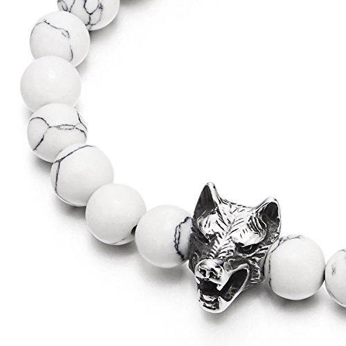Mens Boys 8MM Beads Bracelet with Stainless Steel Wolf Head Charm, Stretchable