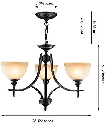 Pendent Lamp, Glass Iron Anti-rust Non-toxic Anti-corrosion Not Easy To Fade Lasting Height Adjustable Moisture-proof Lampshade Easy To Install