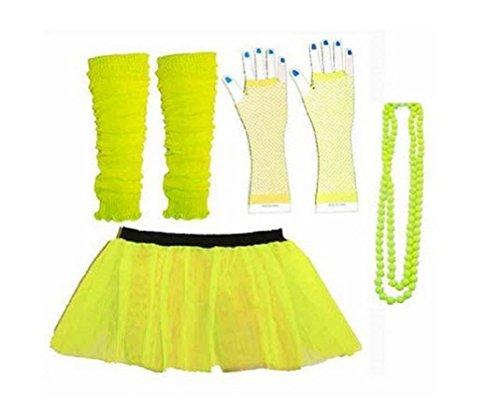 [Rush Dance 80s Fancy Costume Set - TUTU & LEG WARMERS & FISHNET GLOVES & BEADS (Special Yellow)] (Cupid Costume Ballet)