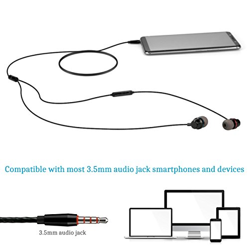 Earphones in Ear Headphones Earbuds with Microphone Mic Stereo and Volume Control Waterproof Wired Earphone for iPhone Samsung Android Mp3 Players Tablet Laptop 3.5mm Audio Black by KURSO (Image #5)