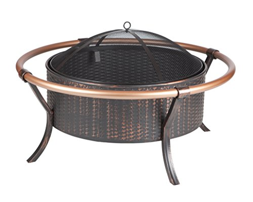 Fire Sense Copper Rail Fire Pit - 28-inch antique bronze steel fire bowl with weave pattern Copper finish outer rails One piece mesh fire screen with high temperature paint - patio, fire-pits-outdoor-fireplaces, outdoor-decor - 41NgLa8rKIL -