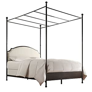 Andover Cream White Curved Top Cherry Brown Metal Canopy Poster Bed (Twin)