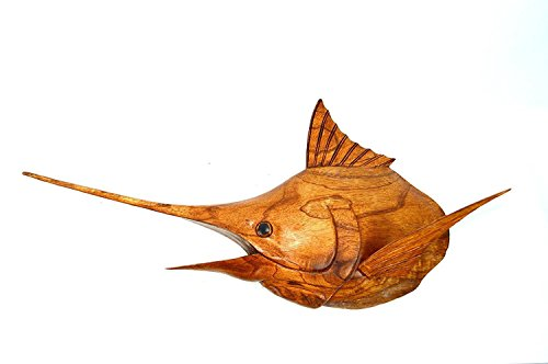 Hand Carved Wood Sailfish Marlin Fish Mount Trophy Ocean Sport Fishing sportsmens catch - Fish Mount