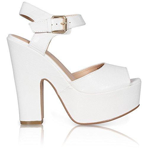 Damen-Plateau-Sandale, dicker Absatz, Peep Toe, Knöchelriemen, Sandalen/Schuhe WHITE SNAKE PU
