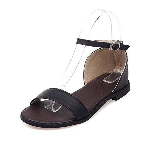 Amoonyfashion Kvinners Åpen Tå Spenne Pu Solid No Hæl Flats-sandaler Svart
