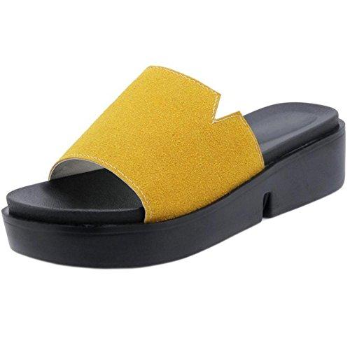 Femmes Ete Yellow Mules TAOFFEN Plateau fdwvpqxdF