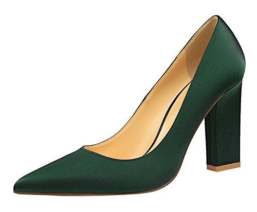 Elegant Dress Pointed Toe Slip On Satin Chunky High Heels Pumps Shoes Dark Green 7.5 B(M) US ()