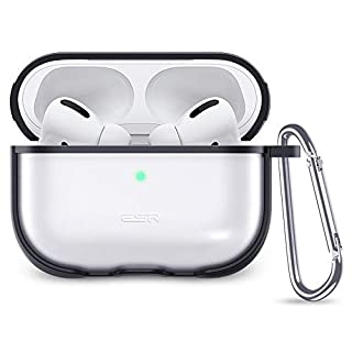 ESR Protective Carrying Case for AirPods Pro Case 2019, Translucent PC Cover with Hybrid TPU Frame and Keychain [Won't Affect Wireless Charging],[Fingerprint Resistant Matte Surface], Black Frame