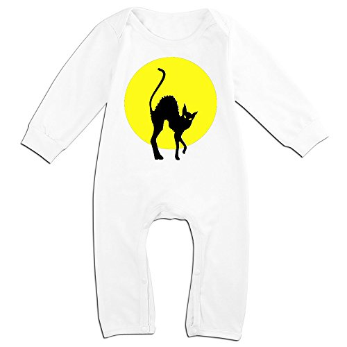 ALIPAPA Boy's & Girl's Black Cat Full Moon Baby Climbing Clothes White Size 24 Months