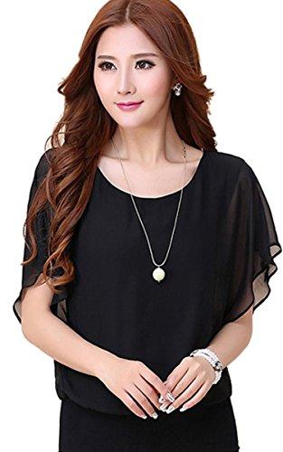 FINEJO Women's Long Sleeve Slim Fit Floral Lace Organza Blouse