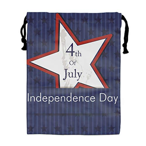4th July USA Star Travel Drawstring Bag Shoe Laundry Underwear Makeup Storage Pouch 11.8 × 15.7