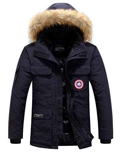 Parka Blousons Homme Fourrure à Capuche Manteau Hiver Chaud Épais Doudoune Veste Men Warm Winter Outdoor Fur Hooded Coat…