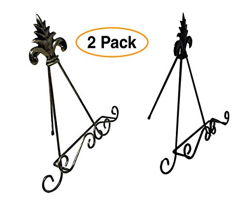 Decorative Easel Iron Display Stand Holder, (2 Pack) Black Iron & Rusted Gold for Cookbooks, Plate, Art (Black Easel Iron)