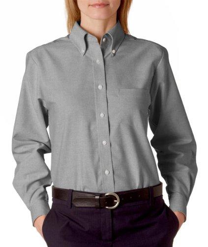 UltraClub® Ladies' Classic Wrinkle-Free Long-Sleeve Oxford - Charcoal (60/40) - - Long Oxford Sleeve Shirt Wrinkle Free