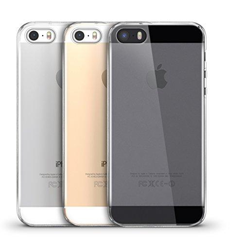 Orzly® - FlexiCase für Apple iPhone 5 (2015 Modell) & iPhone 5S (2013 Version) - Flexible Silikon-Gel-Telefon-Kasten Schutz in 100% TRANSPARENT