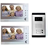 Videocitofono 2 monitor registra kit bifamiliare telecamera ir 7 pollici memory MWS