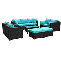 Garden and Outdoor Rattaner Outdoor PE Wicker Furniture Set 7 Pieces Patio Garden Conversation Cushioned Seat Couch Sofa Chair Set… patio furniture sets