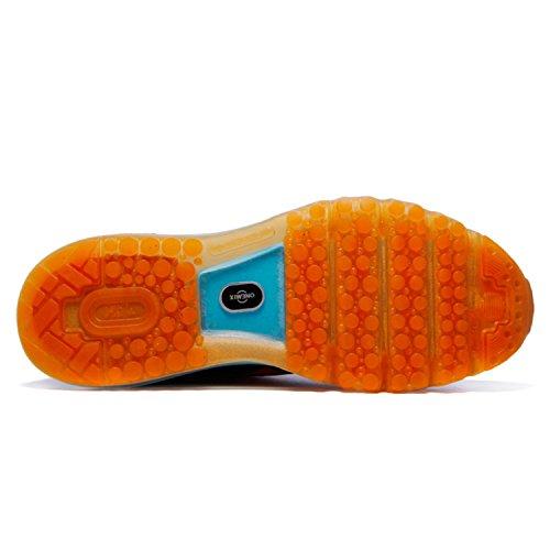 Onemix Men Lightweight Mesh Air Cushion Outdoor Sport Running Shoes Lake Blue / Orange