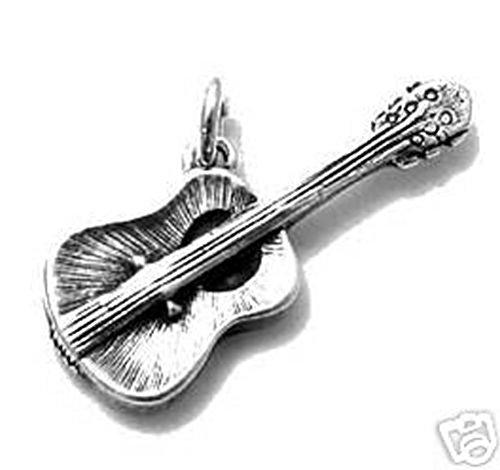 Sandra Creative Design Silver-tone 3D Acoustic Guitar Charm (Bracelet Charm Jackson Michael)