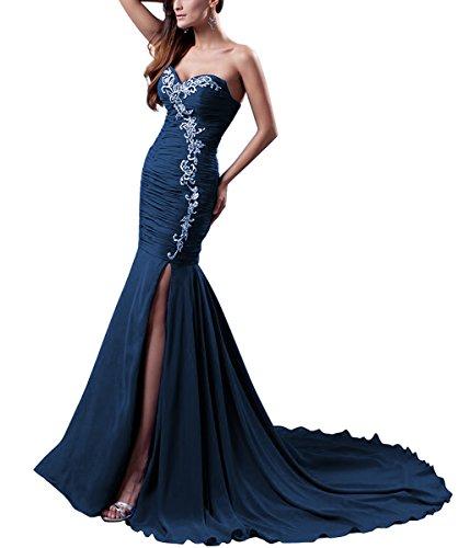 Kleid Abendkleider Marine Langes Aiyana Blau Elegantes Schulterfrei Zug 36 Rueckenfrei Chiffon Brautjungfernkleider Meerjungfrau fwpRxqO