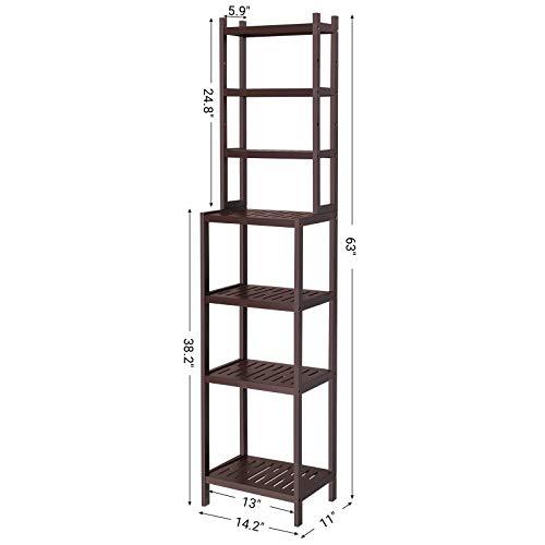 SONGMICS 7-Tier Bamboo Bathroom Shelf, 2-in-1 Design Adjustable Storage Rack, Free Standing Multifunctional Organizer, Shelving Unit for Washroom, Living Room, Kitchen, Brown UBCR01BR, 1603628 cm, by SONGMICS (Image #5)