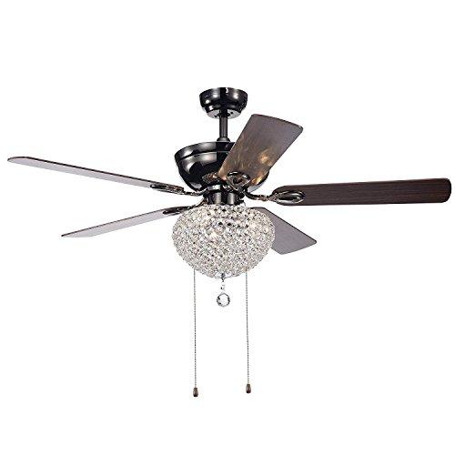 5 Wood Leaves Crystal Ceiling Fan Light 52 inch Indoor Pull Chain Control Semi-Embedded Reverse Retro Fan Chandelier