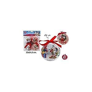 Disney Mickey & Minnie Mouse - Bolas de navidad, 4unidades Adornos de árbol de Navidad con diámetro de 8cm.
