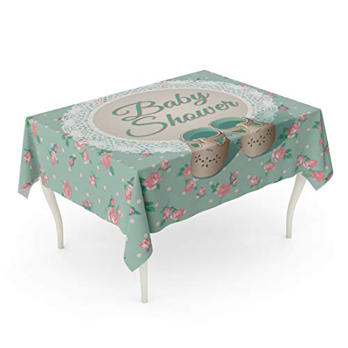 Tarolo Rectangle Tablecloth 60 x 84 Inch Chic Baby Arrival Place Green Shabby Rose Kids Child Shoes Table Cloth